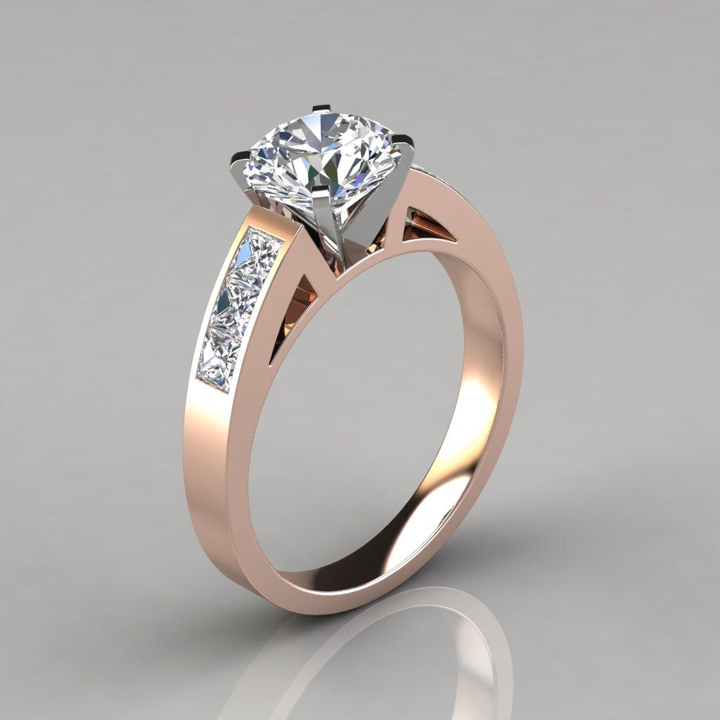 Round Cut Channel Set Engagement Ring - PureGemsJewels