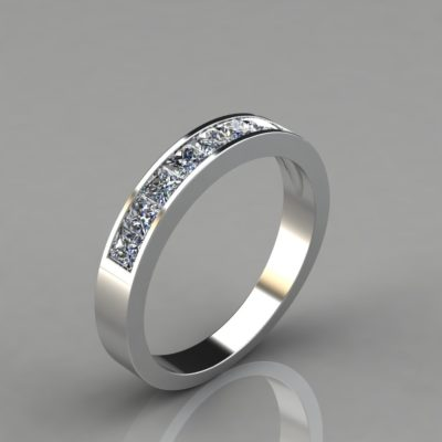 Princess Cut Channel Set-Wedding Band Ring Man Made Diamond
