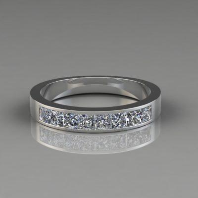 Princess Cut Channel Set-Wedding Band Ring Man Made Diamond