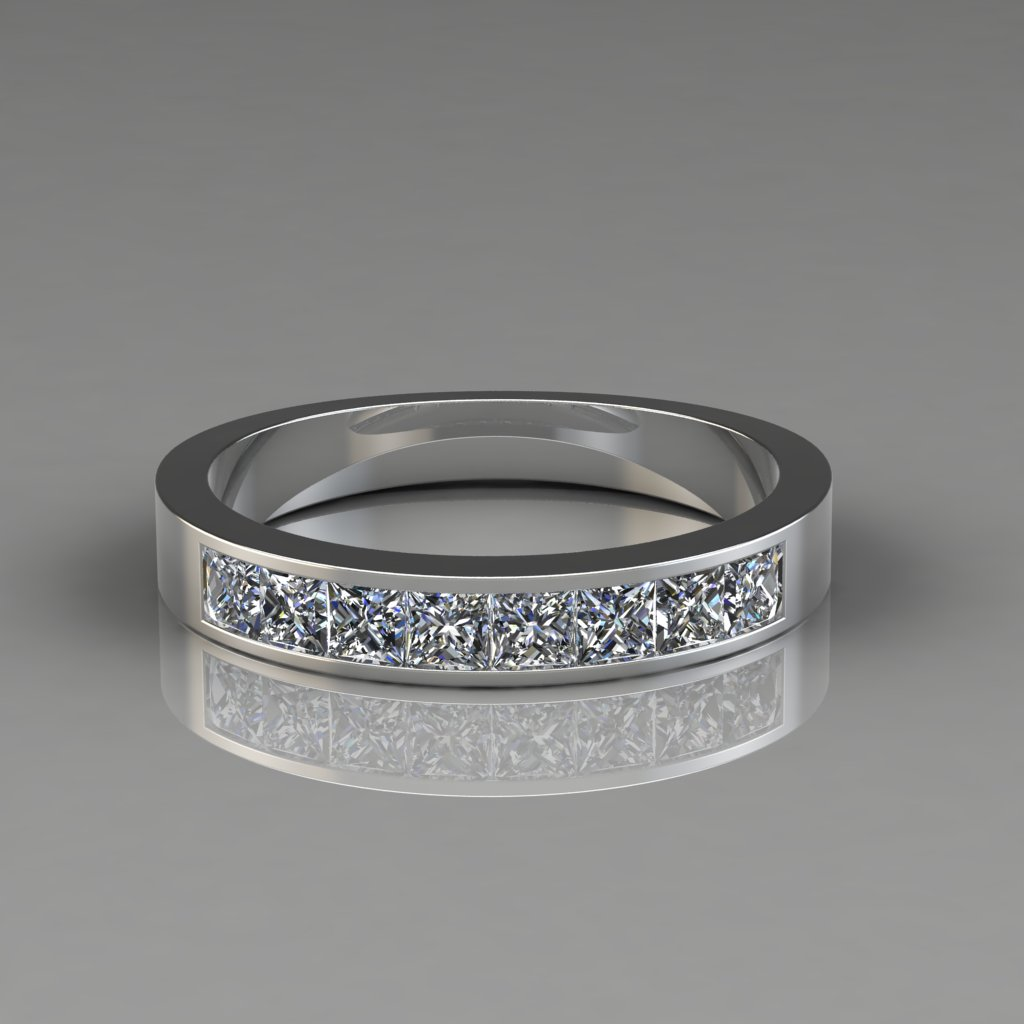 0 80ct Princess Cut Channel Set Wedding Band Ring