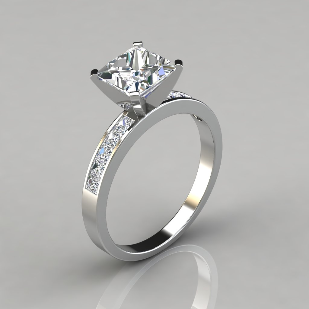 Princess Cut Channel Set Engagement Ring Puregemsjewels
