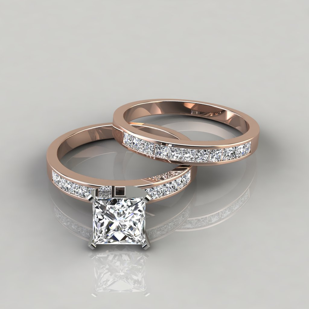 Princess Cut Engagement Ring And Wedding Band Bridal Set
