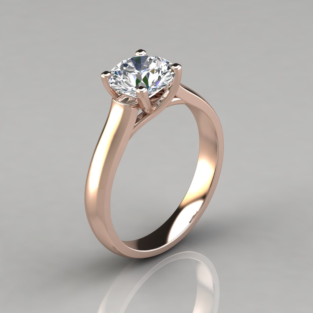 Round Cut Cross Prong Solitaire Engagement Ring ...
