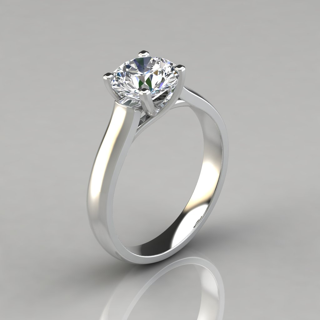 round cut cross prong solitaire engagement ring. Black Bedroom Furniture Sets. Home Design Ideas