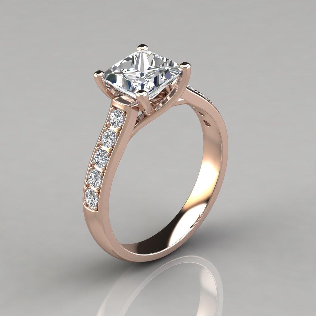 Princess Cut Cross Prong Gold Engagement Ring