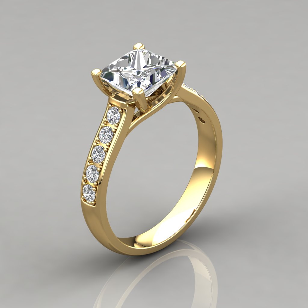 Engagement Rings In Gold: Princess Cut Cross Prong Gold Engagement Ring
