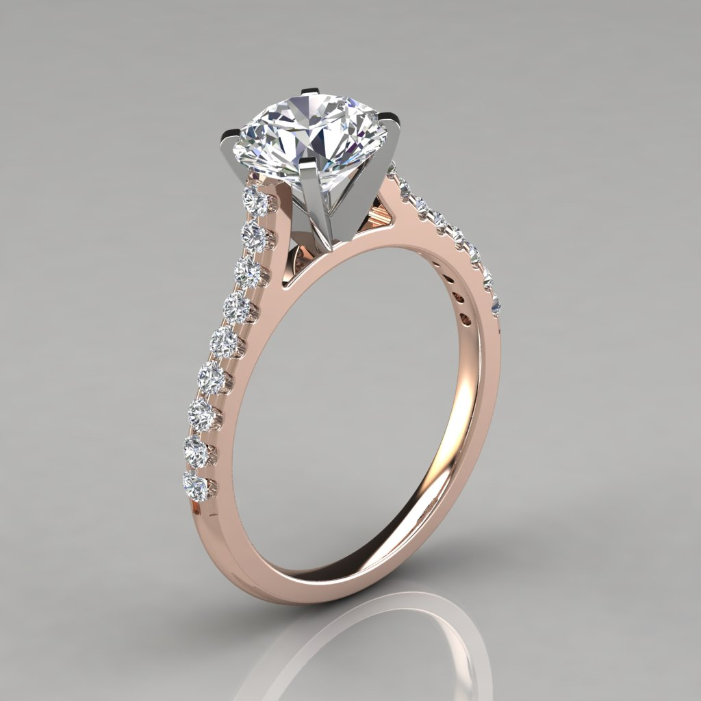 025r1 Rose Gold Round Cut Cathedral Style Man