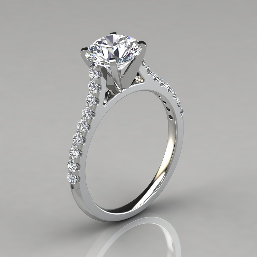 Round Cut Cathedral Style Engagement Ring - Pure Gems Jewels
