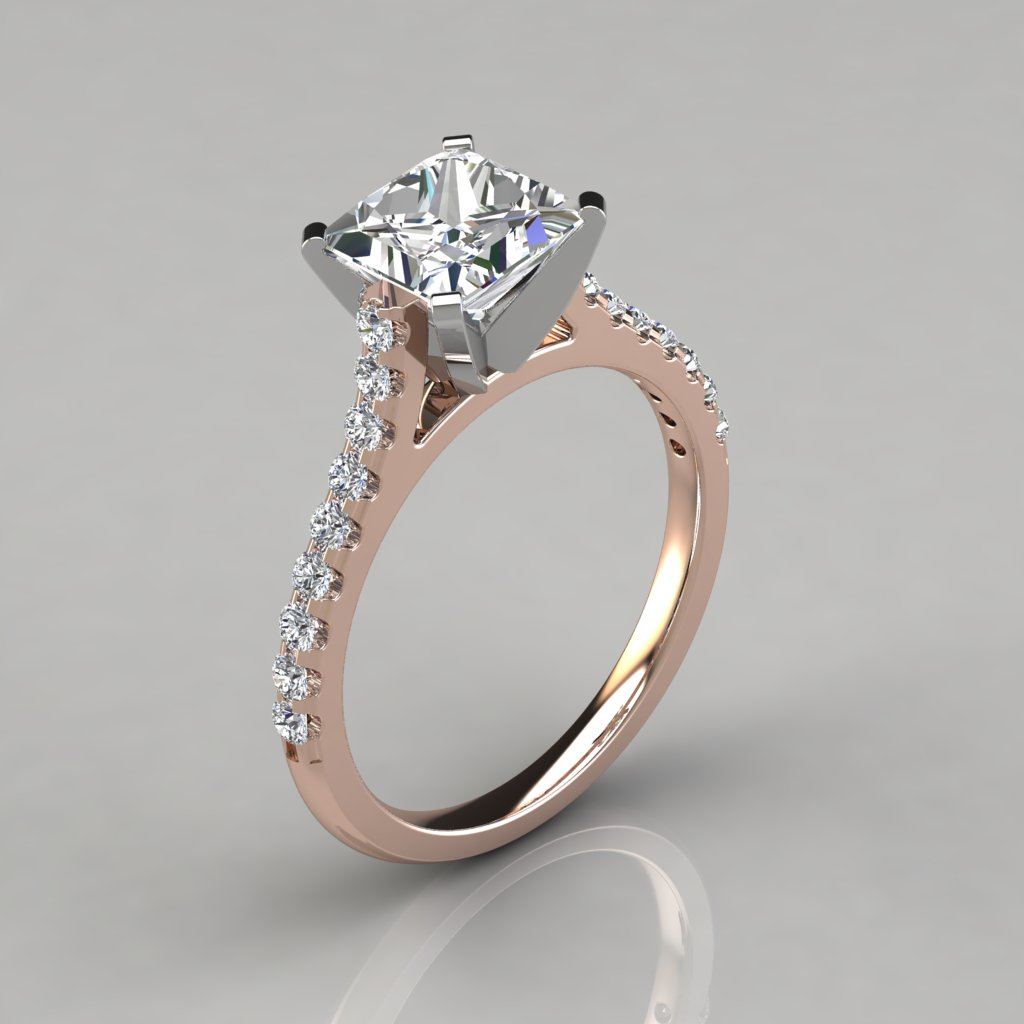 Tall Cathedral Princess Cut Engagement Ring - PureGemsJewels 06423a95a