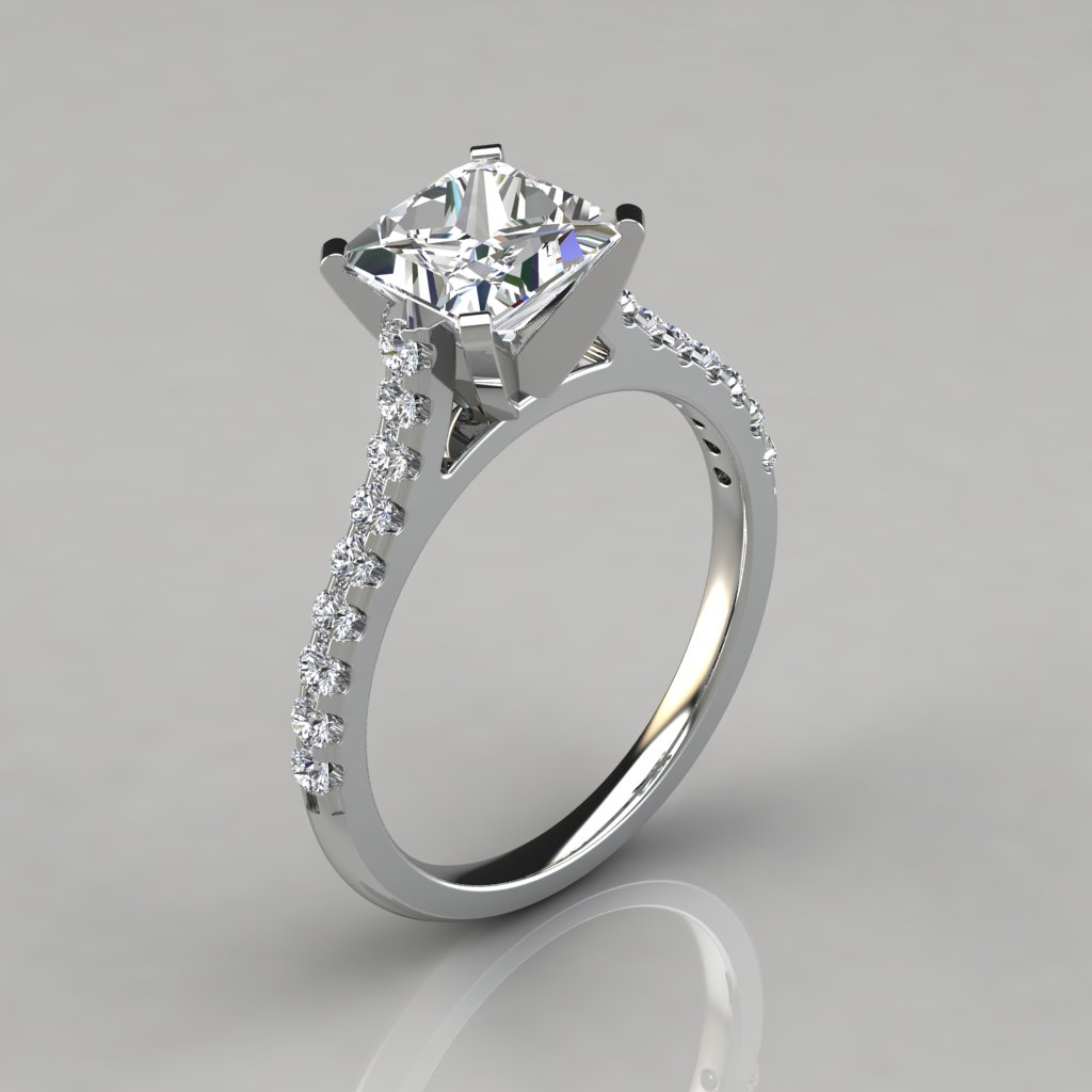 Tall Cathedral Princess Cut Engagement Ring Puregemsjewels