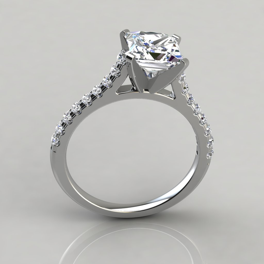 Tall Cathedral Princess Cut Engagement Ring Puregemsjewels