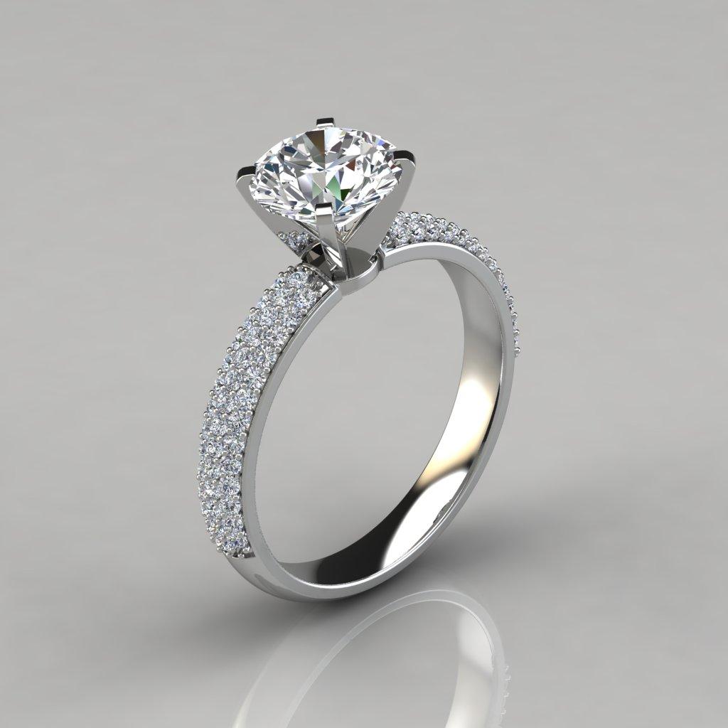 Trio Micro Pave Engagement Ring Puregemsjewels