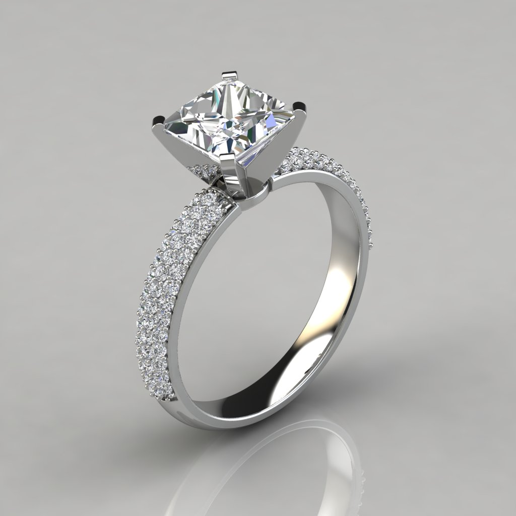 Wide Micro Pavé Princess Cut Engagement Ring