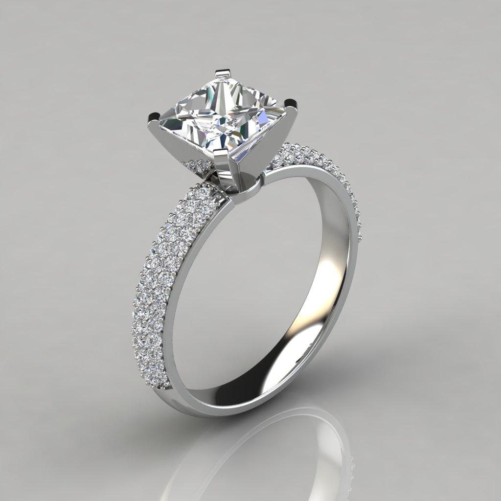 wide micro pav princess cut engagement ring puregemsjewels. Black Bedroom Furniture Sets. Home Design Ideas