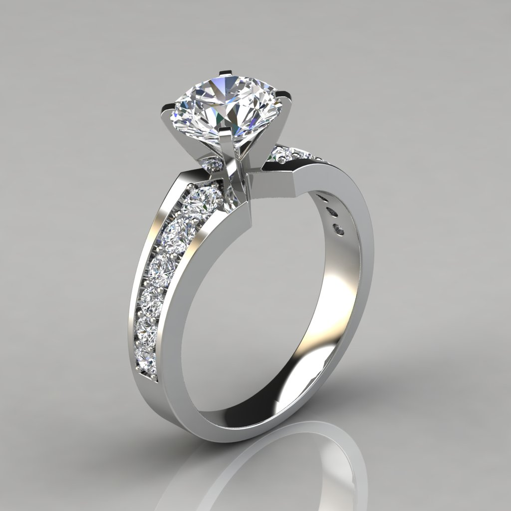graduated pave round cut engagement ring puregemsjewels. Black Bedroom Furniture Sets. Home Design Ideas