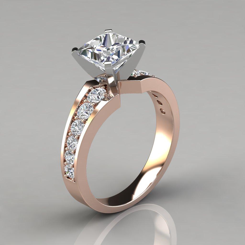 Graduated Pave Princess Cut Engagement Ring - PureGemsJewels