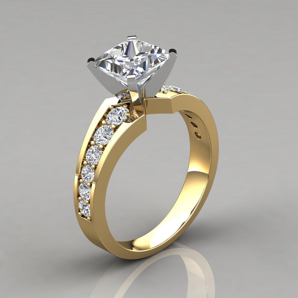 Graduated Pave Princess Cut Engagement Ring Puregemsjewels