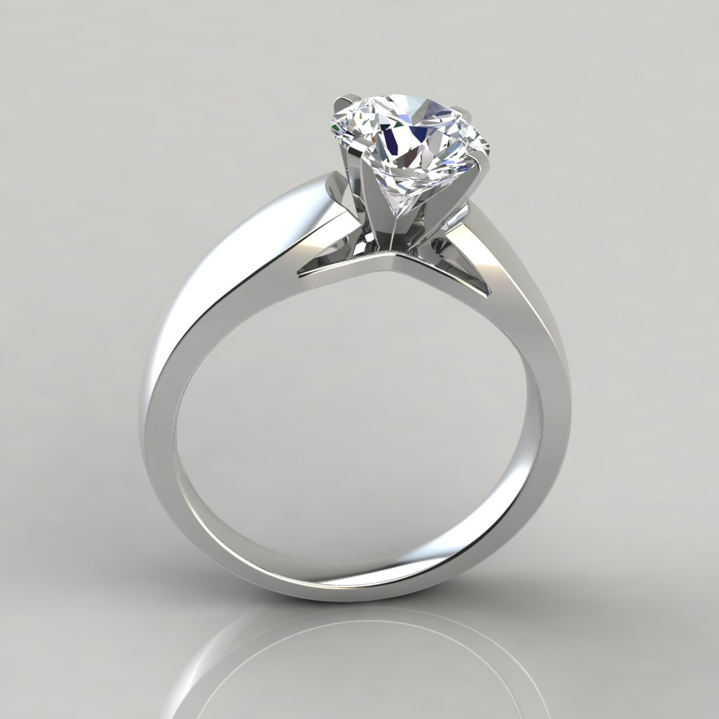 solitaire cathedral ring in white petite engagement rings gold