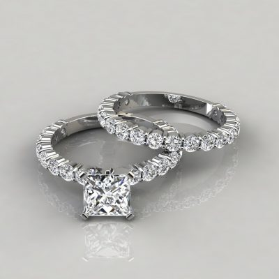White-Gold-Princess-Cut-Designer-Engagement-Ring-and-Weddind-Band-Bridal-Set-Man-Made-Diamonds