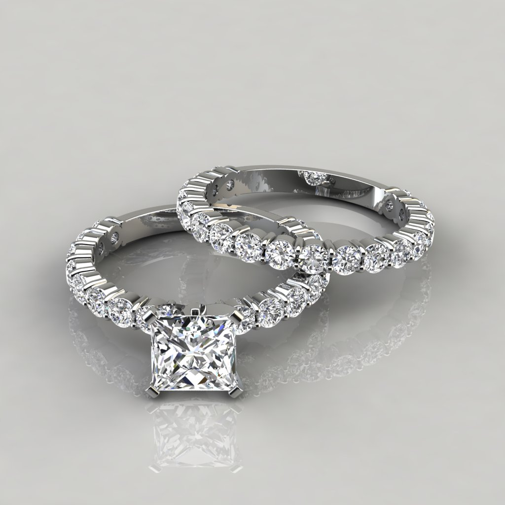 Wedding And Engagement Ring Set Princess Cut Shared Prong Engagement Ring And Wedding Band