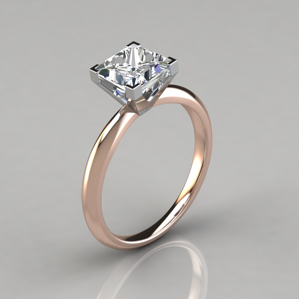 Square Enement Rings | Solitaire Square V Prong Peg Setting Engagement Ring