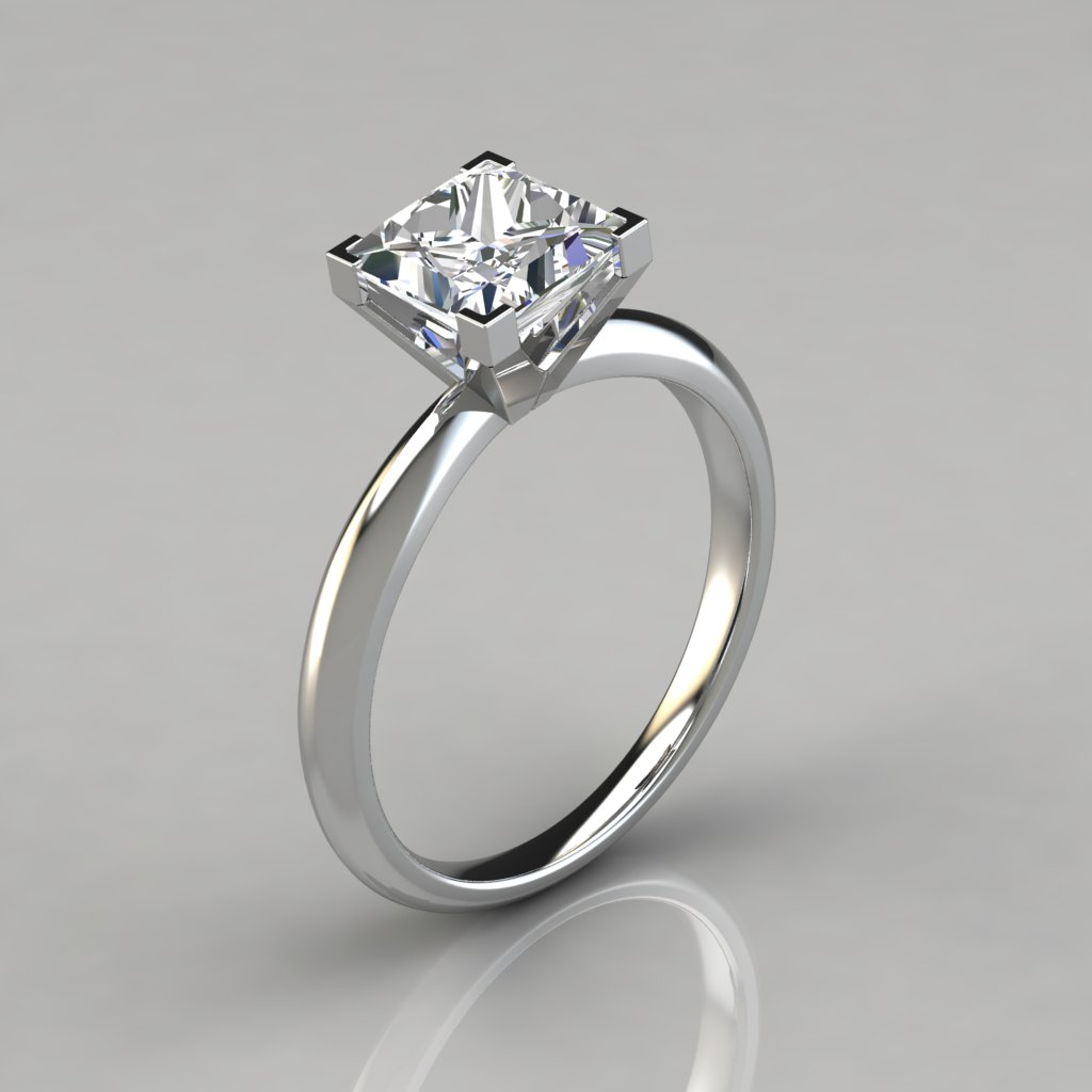 e13bfb6af4595 Solitaire Square V-Prong Peg Setting Engagement Ring