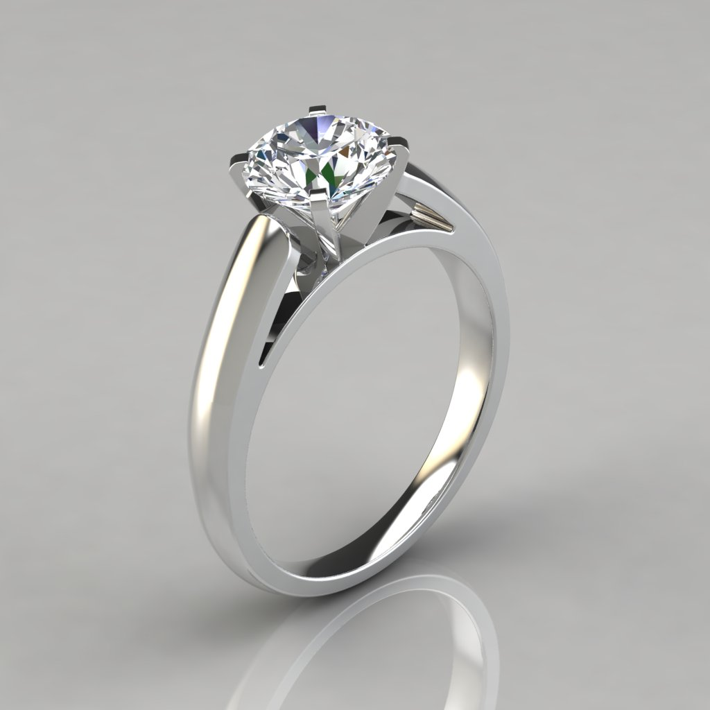 Cathedral round cut solitaire engagement ring puregemsjewels for Wedding ring descriptions