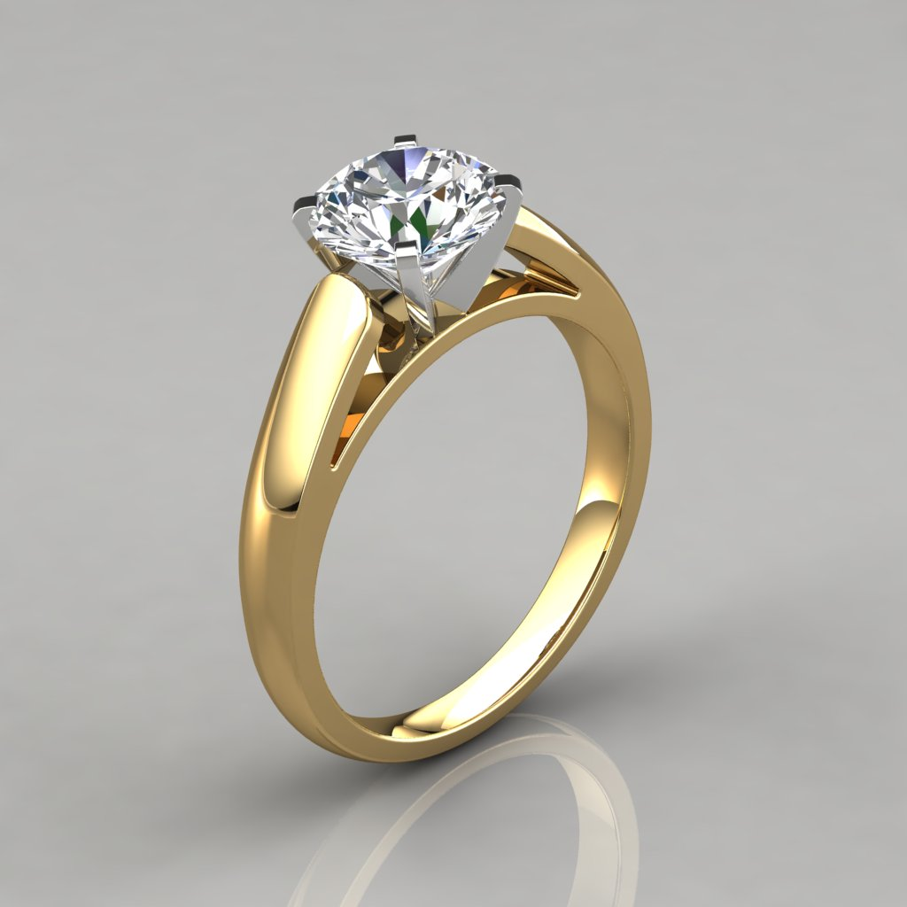 Cathedral Round Cut Solitaire Engagement Ring - PureGemsJewels