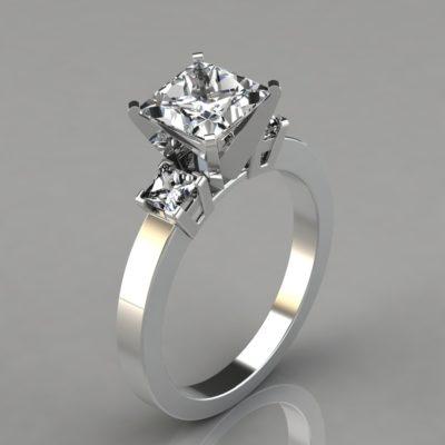 Princess-Cut-Man-Made-Diamonds-Three-Stone-Style-Engagement-Ring