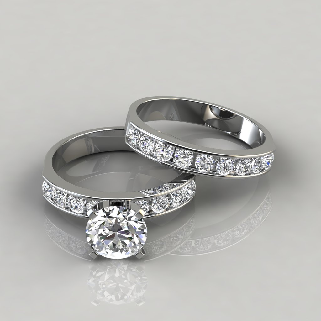 It is an image of Round Cut Engagement Ring and Wedding Band Set - PureGemsJewels