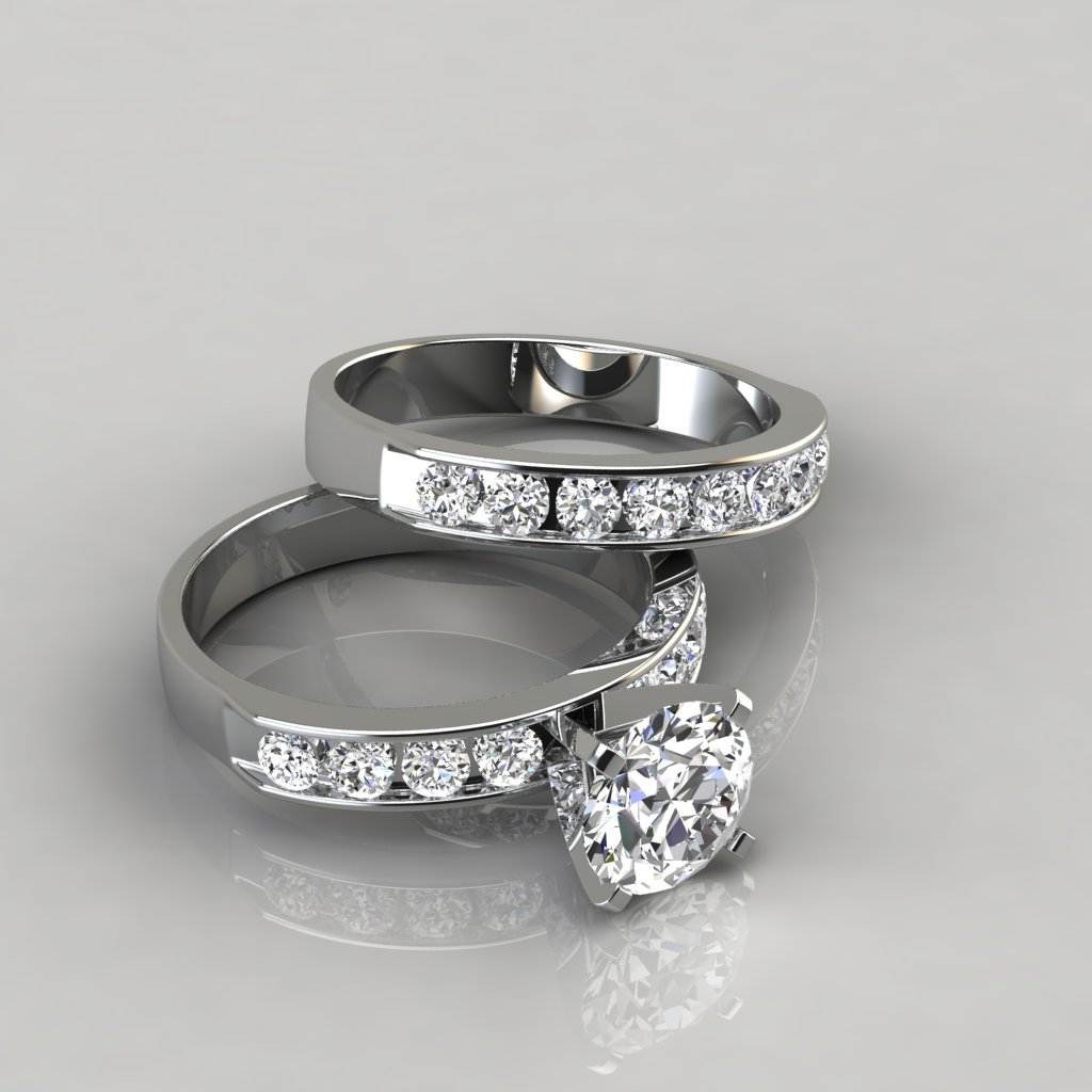 Round Cut Engagement Ring And Wedding Band Set 069w2 Channel