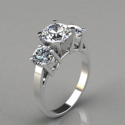 White-Gold-Round-Cut-Three-Stone-Designer-Engagement-Ring-Man-Made-Diamonds