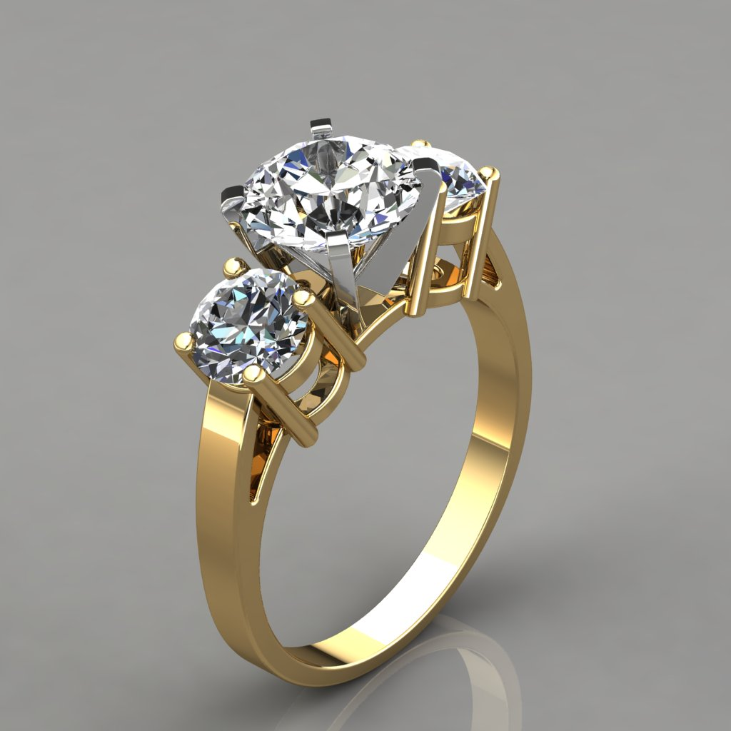 Three Stone Designer Engagement Ring - PureGemsJewels