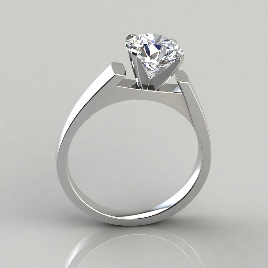 round cut solitaire cathedral style engagement ring. Black Bedroom Furniture Sets. Home Design Ideas
