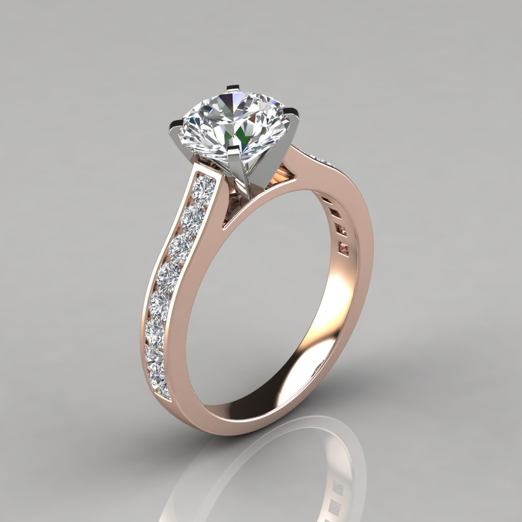 solitaire cut rings squared and cushion setting in engagement with cathedral ring diamond white edge gold shank