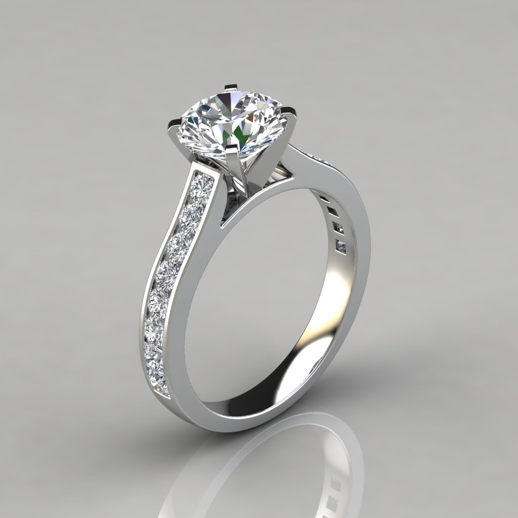 Cathedral Round Cut Channel Set Engagement Ring ...