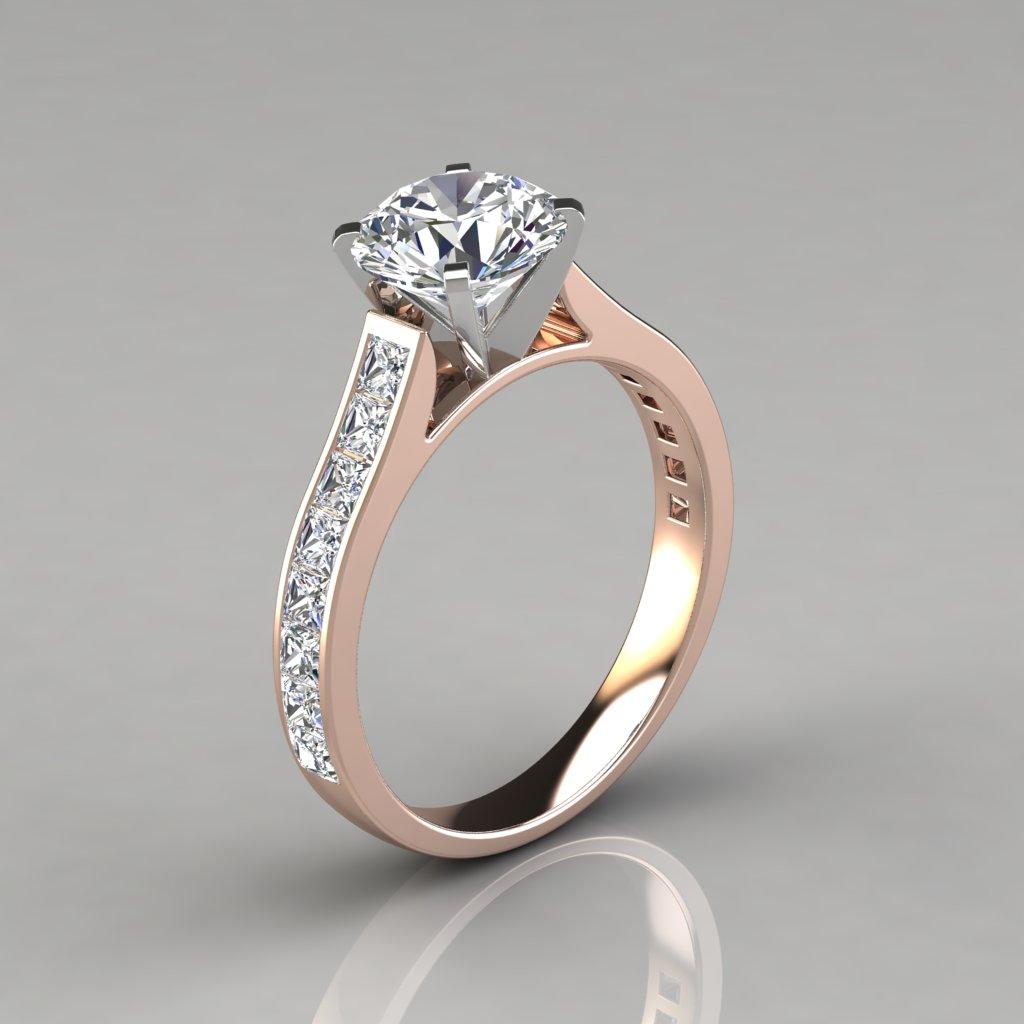 Cathedral Princess Cut Channel Set Engagement Ring PureGemsJewels