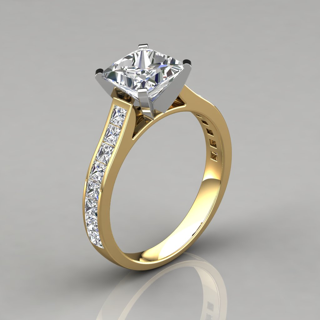Cathedral Style Princess Cut Channel Set Engagement Ring