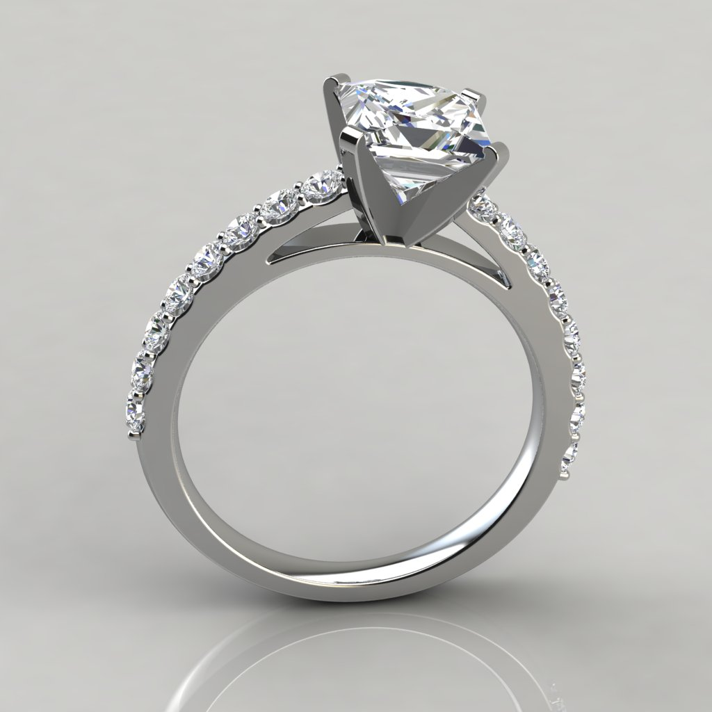 Princess Cut Cathedral Style Engagement Ring