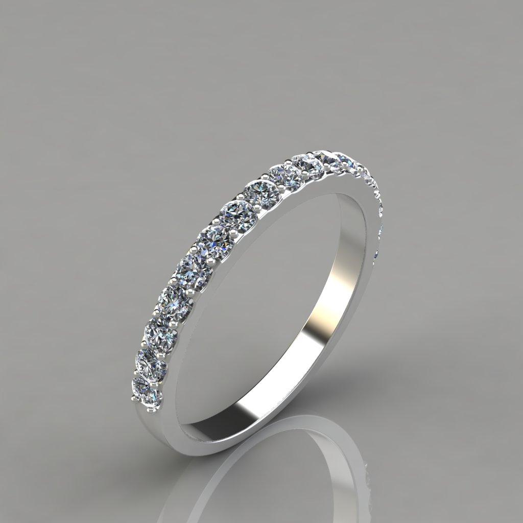 Round Bands: 0.51Ct Ladies Round Cut Wedding Band Ring