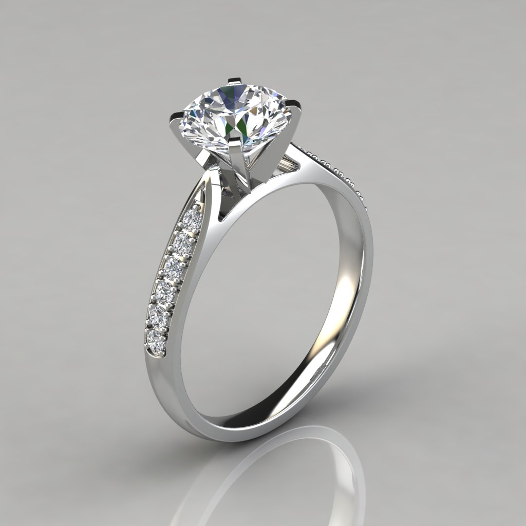 Round Cut Cathedral Pavé Engagement Ring