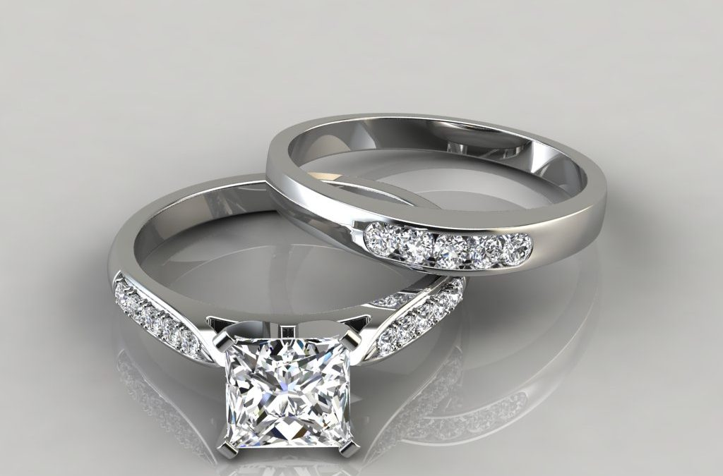Cathedral Pavé Engagement Ring and Wedding Band Set