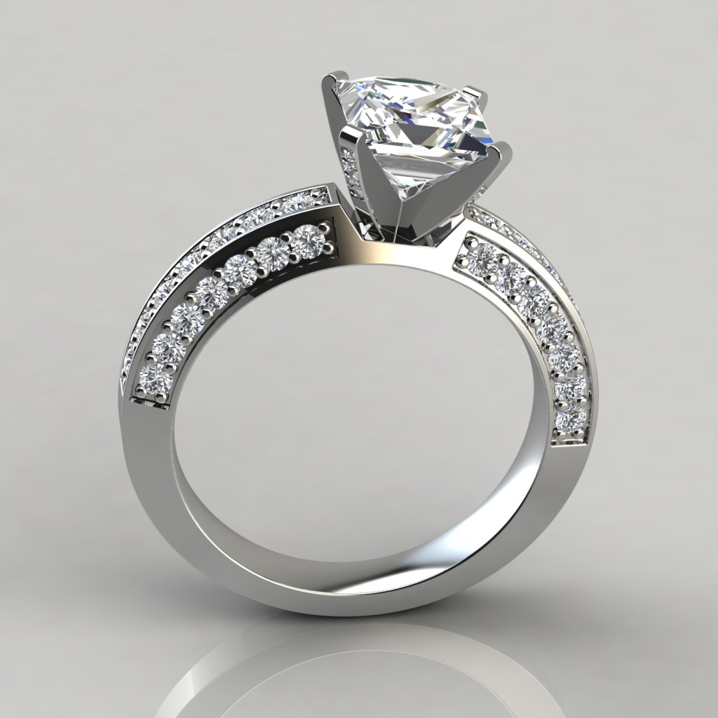 Princess Cut Three Sided Pave Engagement Ring Puregemsjewels