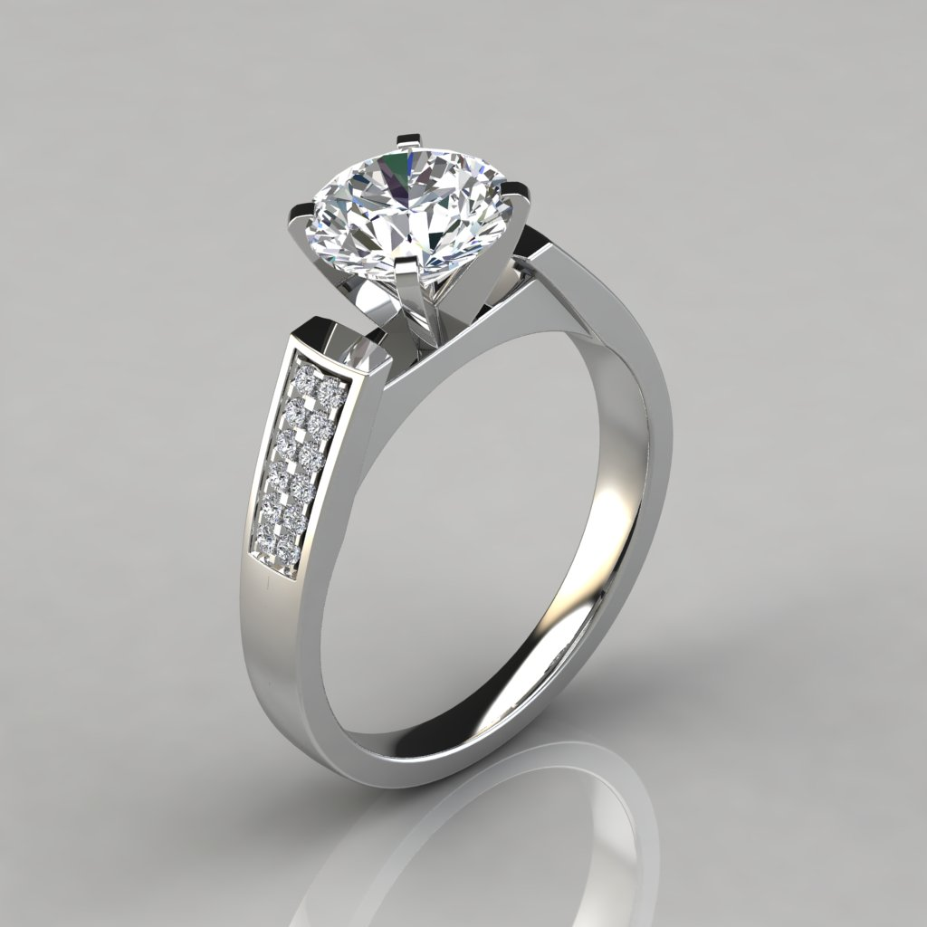 flat wedding rings flat edged cathedral style engagement ring puregemsjewels 4097