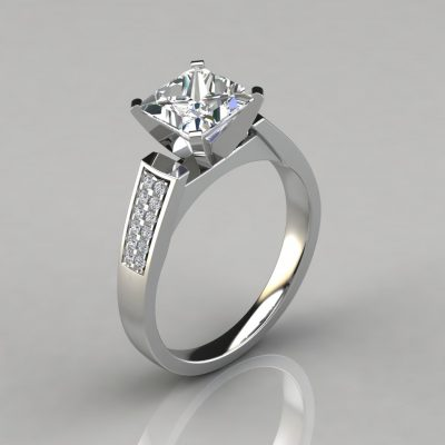 Flat Edged Princess Cut Cathedral Style Engagement Ring