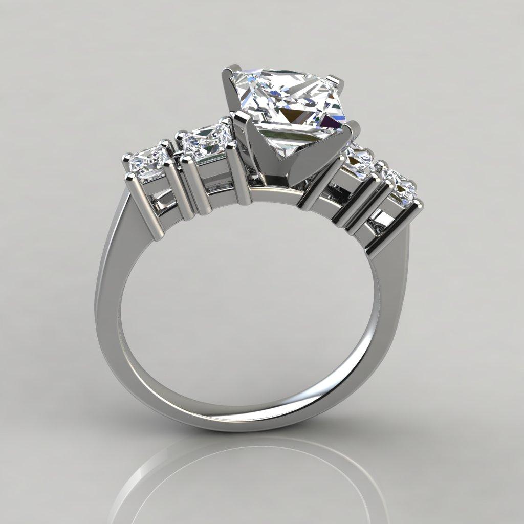 Five Stone Princess Cut Engagement Ring Puregemsjewels