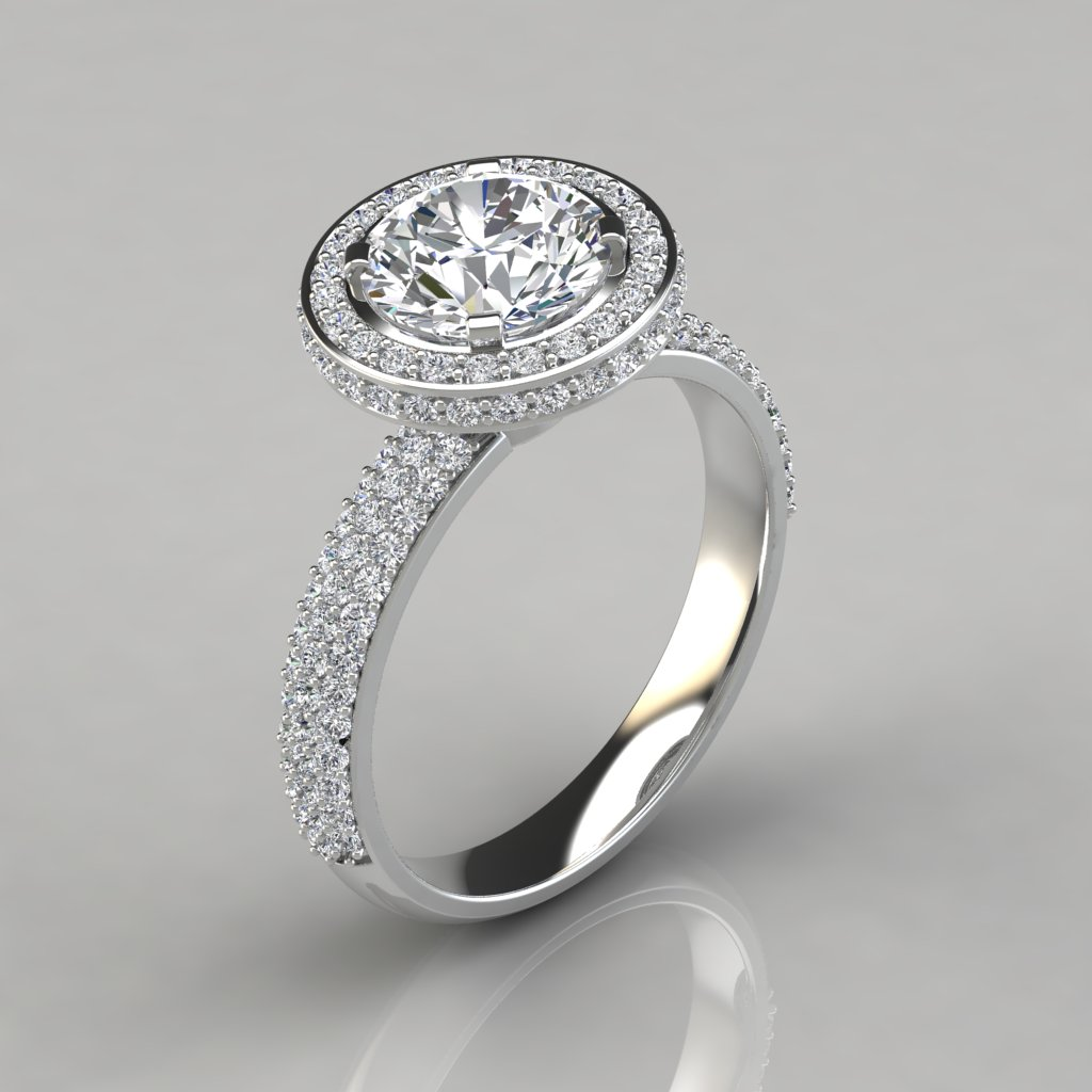 trio micro pave round cut halo engagement ring With wedding rings halo style