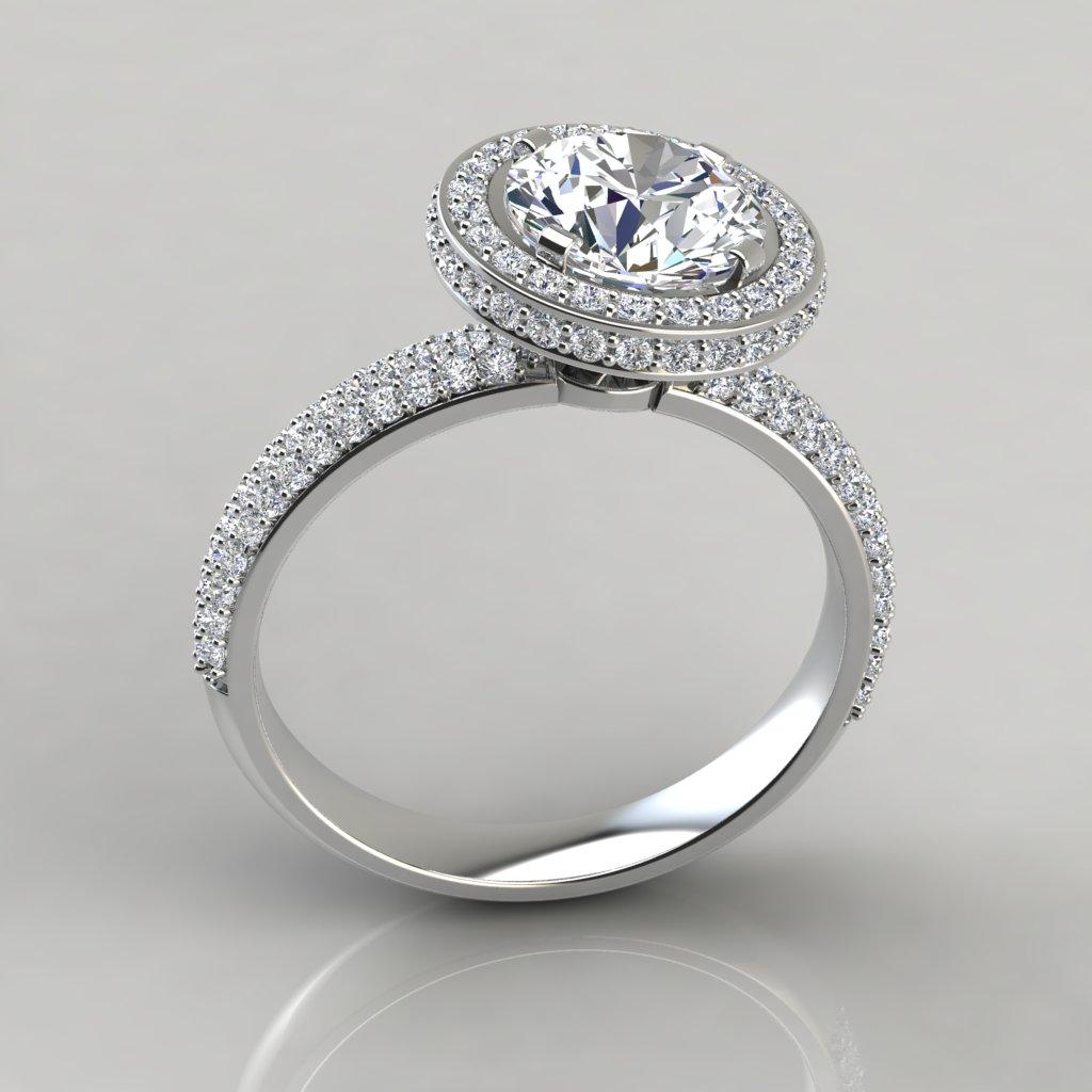 Trio Micro Pavé Round Cut Halo Engagement Ring ...