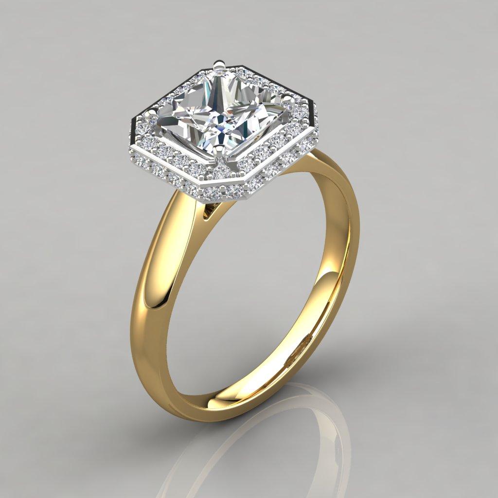Princess Cut Halo Engagement Ring - Pure Gems Jewels
