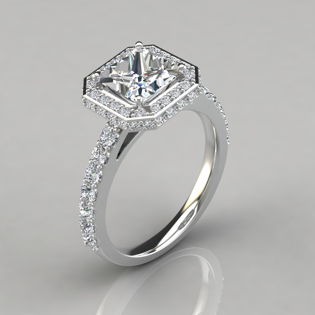engagement cathedral top side rings diamonds gold semi shank beveled with diamond ring white mount shop arden